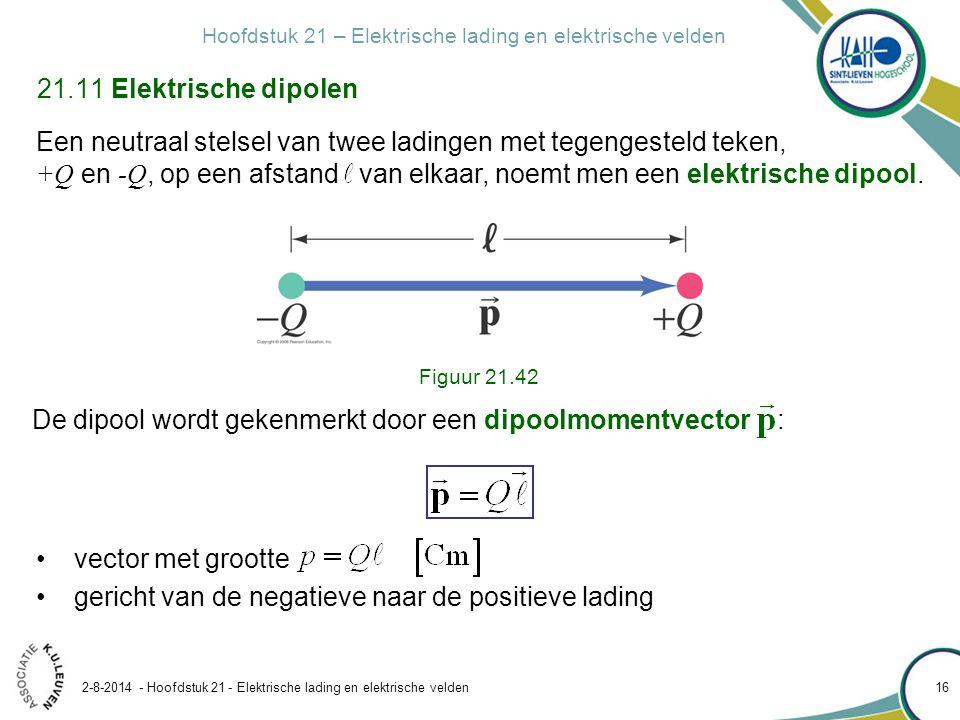 Hoofdstuk 21 – Elektrische lading en elektrische velden 2-8-2014 - Hoofdstuk 21 - Elektrische lading en elektrische velden 16 21.11 Elektrische dipole