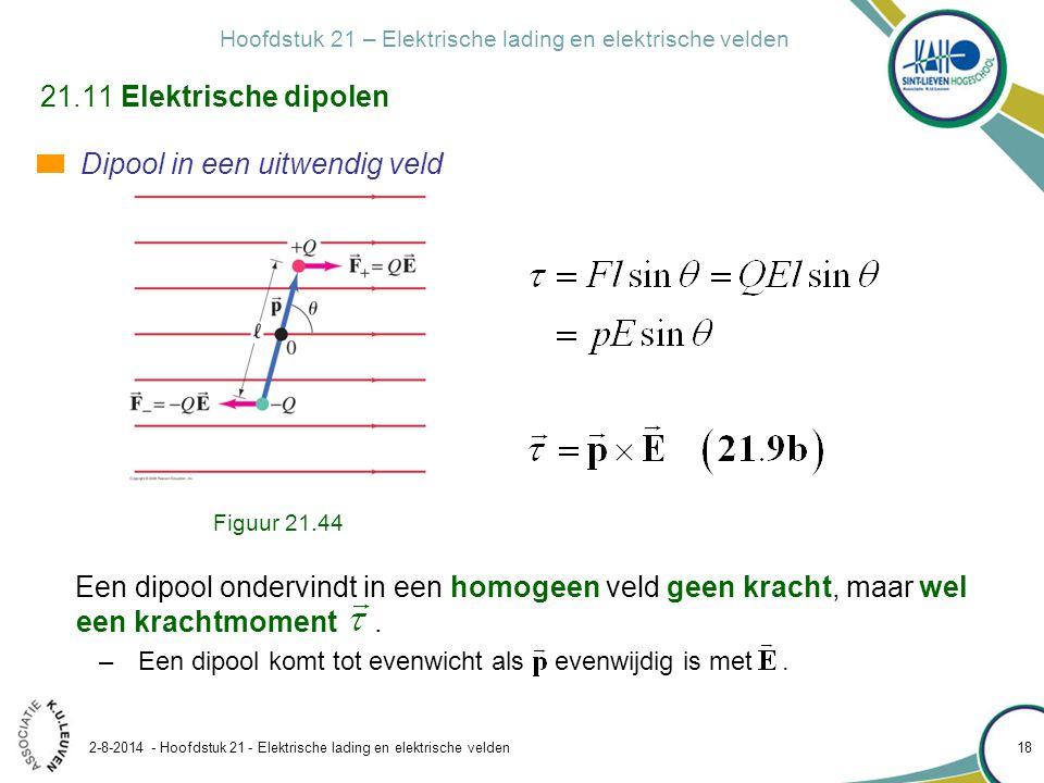Hoofdstuk 21 – Elektrische lading en elektrische velden 2-8-2014 - Hoofdstuk 21 - Elektrische lading en elektrische velden 18 21.11 Elektrische dipole