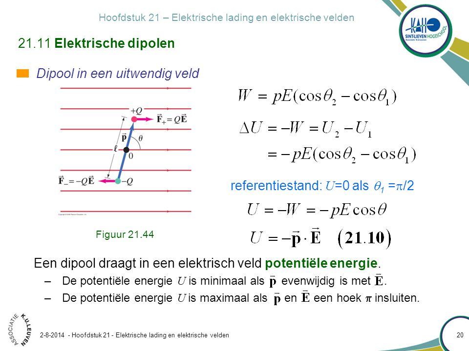 Hoofdstuk 21 – Elektrische lading en elektrische velden 2-8-2014 - Hoofdstuk 21 - Elektrische lading en elektrische velden 20 21.11 Elektrische dipole
