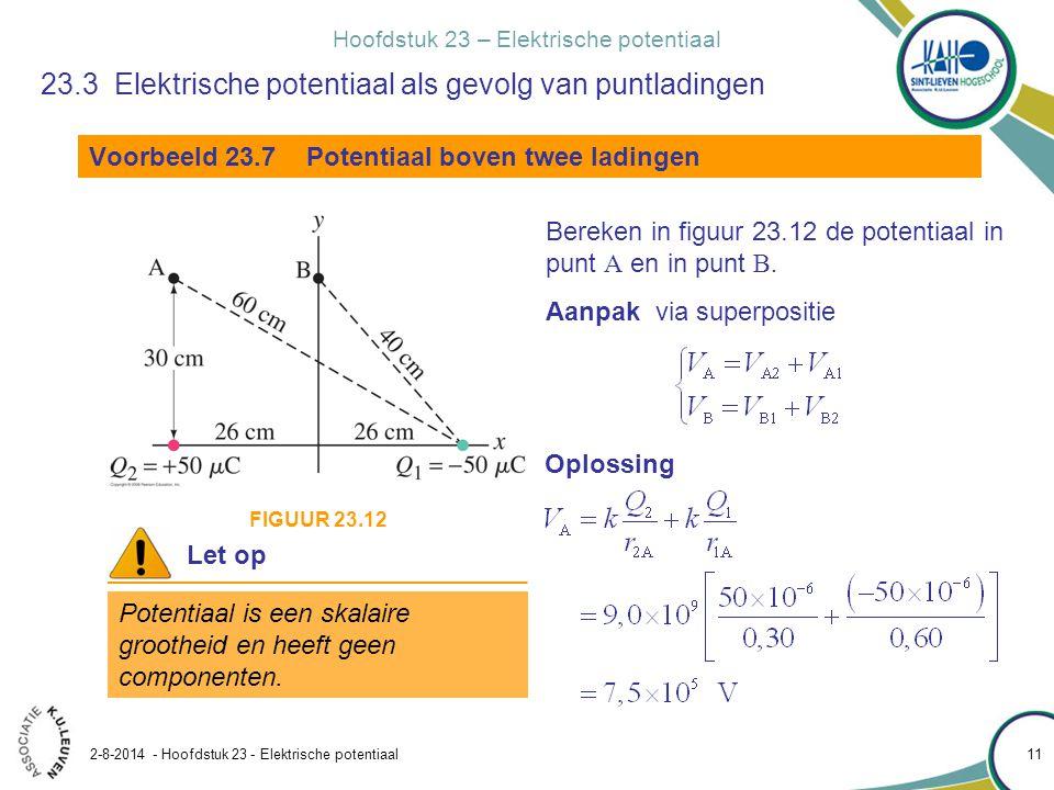 Hoofdstuk 23 – Elektrische potentiaal 2-8-2014 - Hoofdstuk 23 - Elektrische potentiaal 11 23.3 Elektrische potentiaal als gevolg van puntladingen Voor