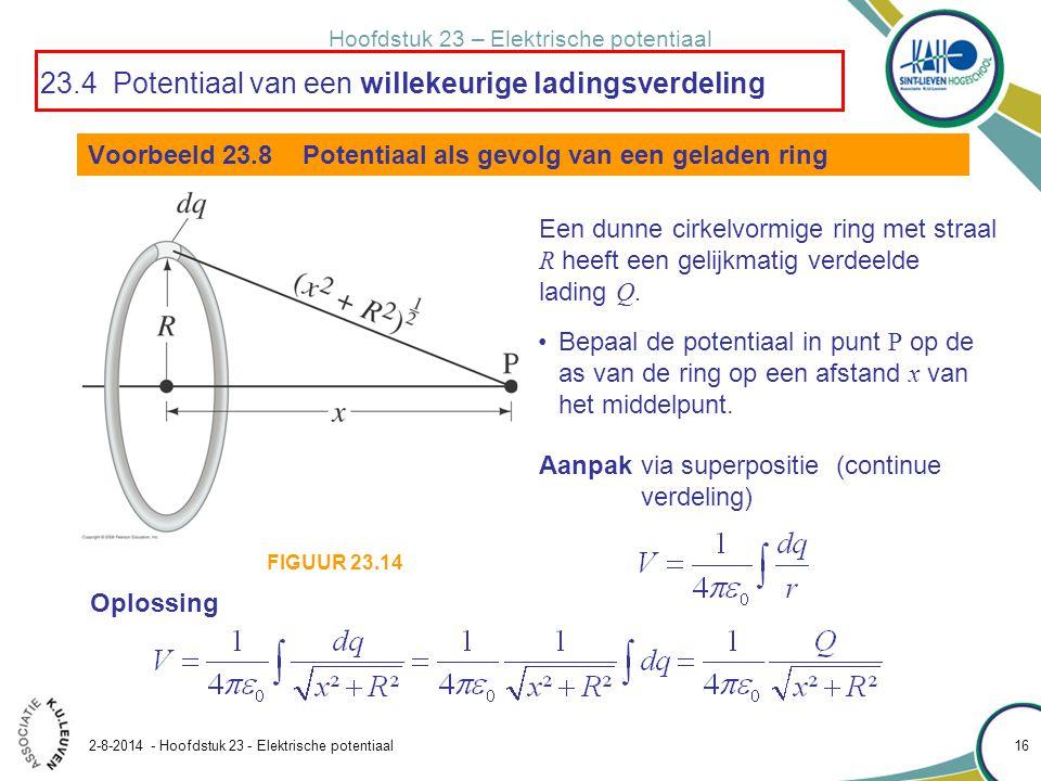 Hoofdstuk 23 – Elektrische potentiaal 2-8-2014 - Hoofdstuk 23 - Elektrische potentiaal 16 Voorbeeld 23.8 Potentiaal als gevolg van een geladen ring Ee