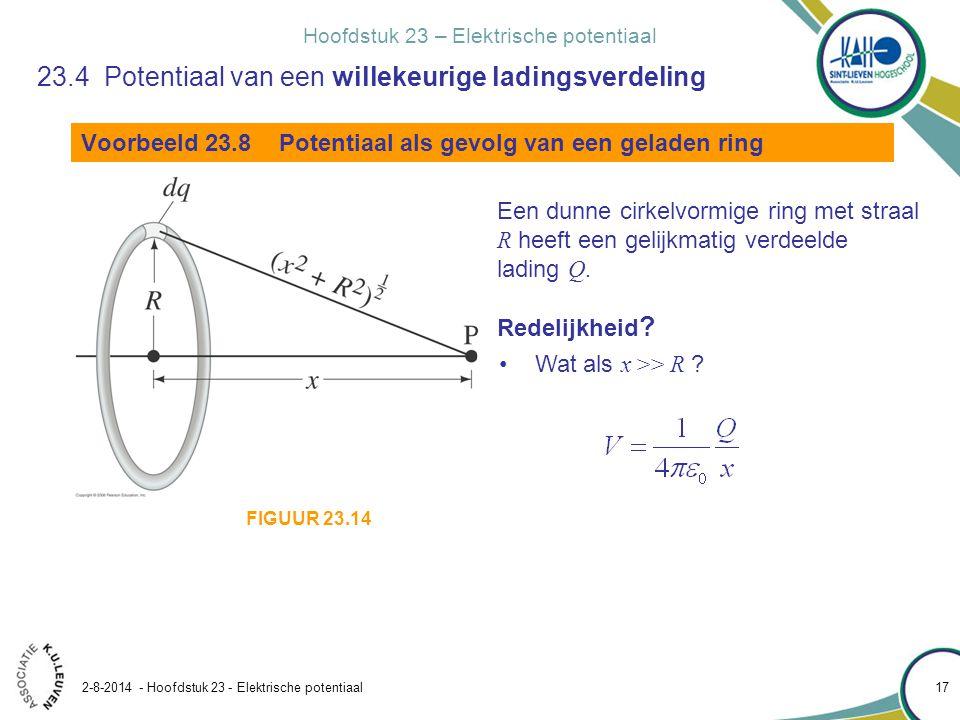 Hoofdstuk 23 – Elektrische potentiaal 2-8-2014 - Hoofdstuk 23 - Elektrische potentiaal 17 Voorbeeld 23.8 Potentiaal als gevolg van een geladen ring Ee