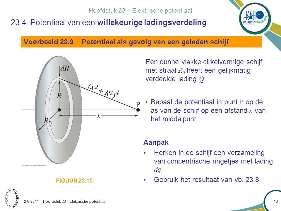 Hoofdstuk 23 – Elektrische potentiaal 2-8-2014 - Hoofdstuk 23 - Elektrische potentiaal 18 Voorbeeld 23.9 Potentiaal als gevolg van een geladen schijf