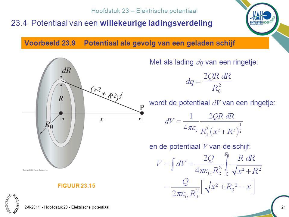 Hoofdstuk 23 – Elektrische potentiaal 2-8-2014 - Hoofdstuk 23 - Elektrische potentiaal 21 Voorbeeld 23.9 Potentiaal als gevolg van een geladen schijf