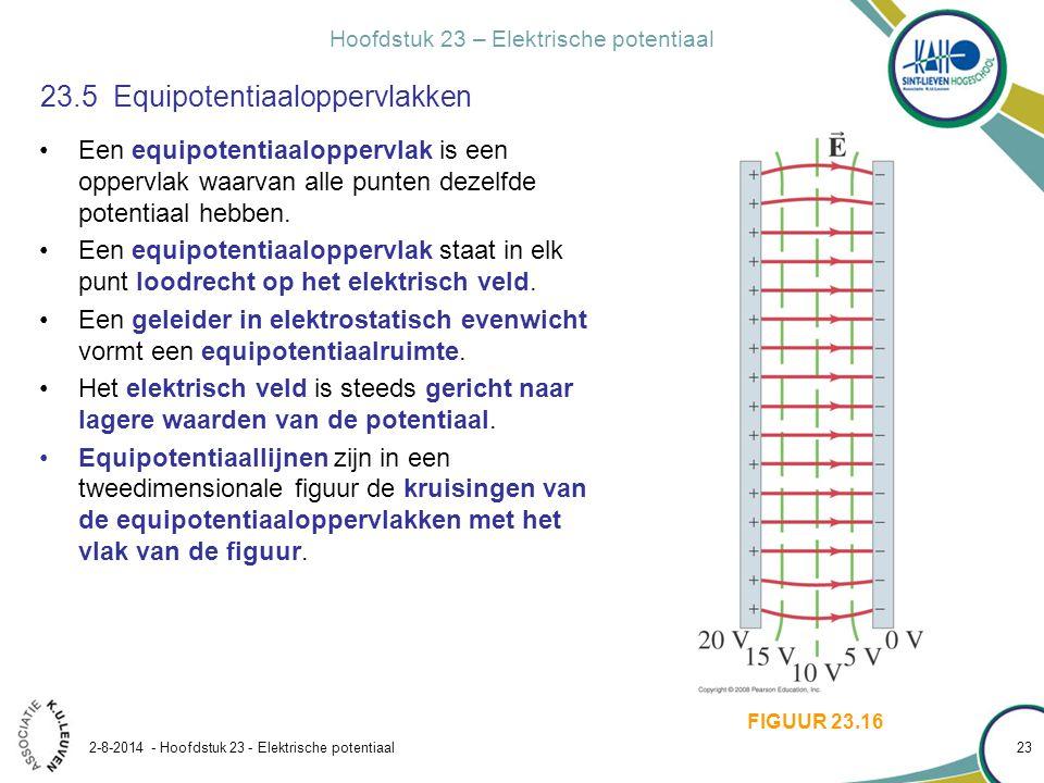 Hoofdstuk 23 – Elektrische potentiaal 2-8-2014 - Hoofdstuk 23 - Elektrische potentiaal 23 23.5 Equipotentiaaloppervlakken Een equipotentiaaloppervlak