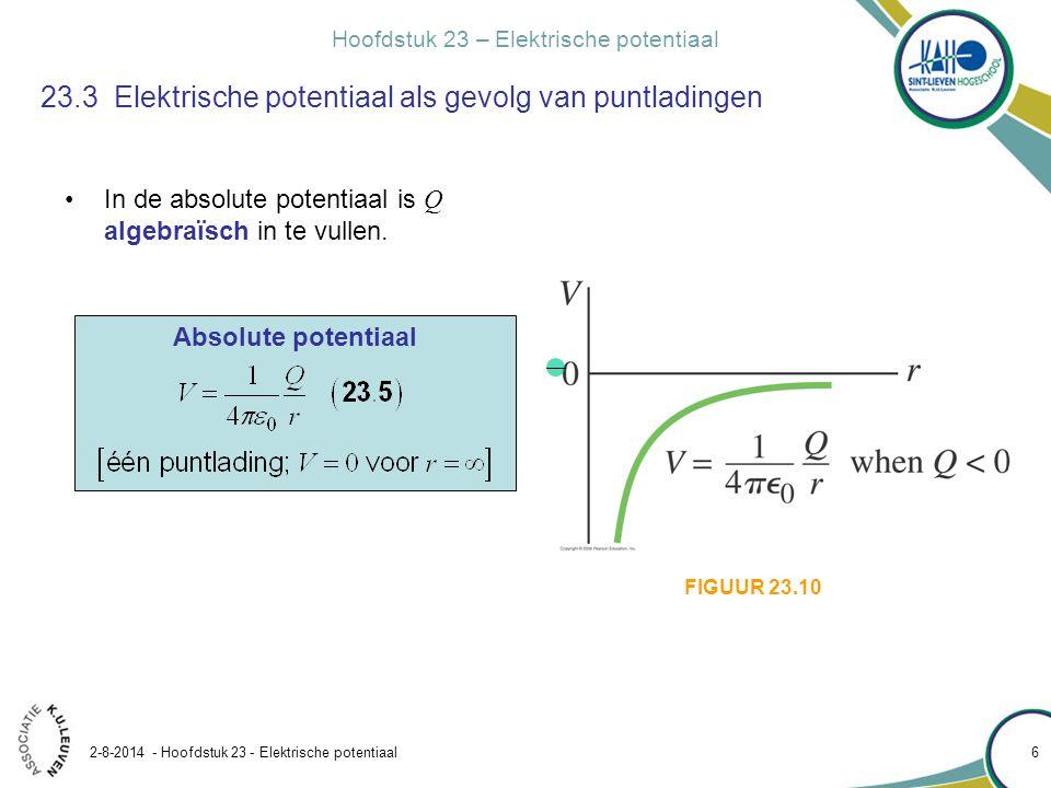 Hoofdstuk 23 – Elektrische potentiaal 2-8-2014 - Hoofdstuk 23 - Elektrische potentiaal 17 Voorbeeld 23.8 Potentiaal als gevolg van een geladen ring Een dunne cirkelvormige ring met straal R heeft een gelijkmatig verdeelde lading Q.