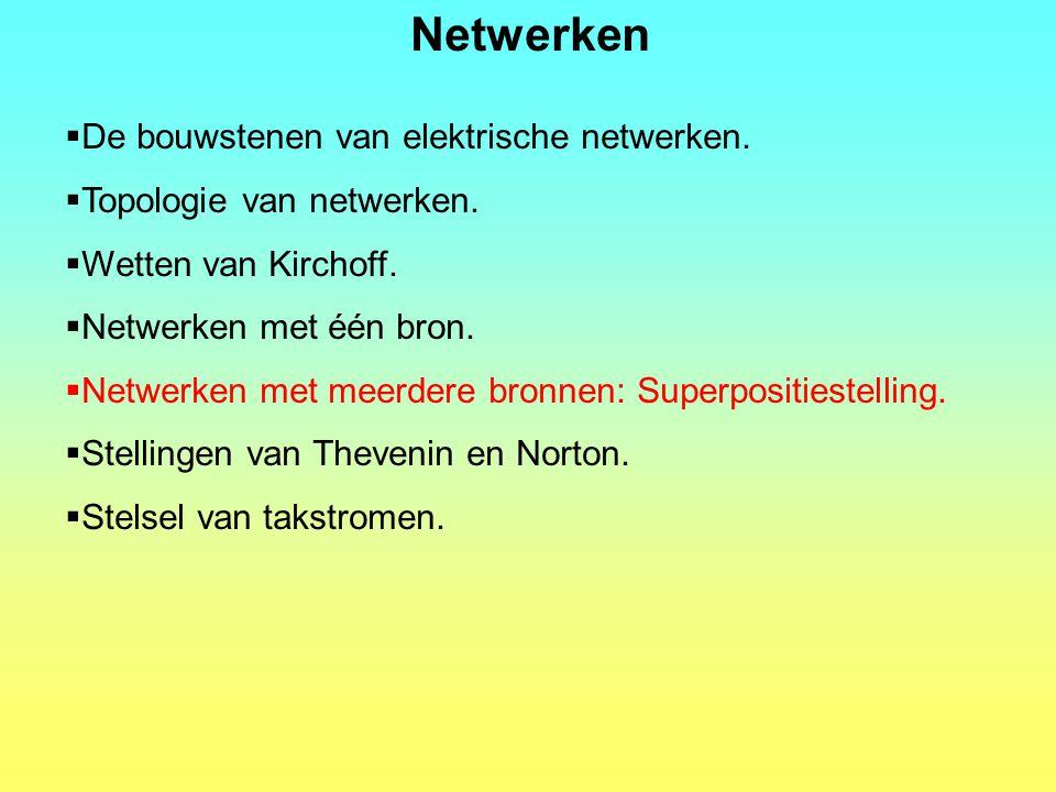Netwerken  De bouwstenen van elektrische netwerken.  Topologie van netwerken.  Wetten van Kirchoff.  Netwerken met één bron.  Netwerken met meerd