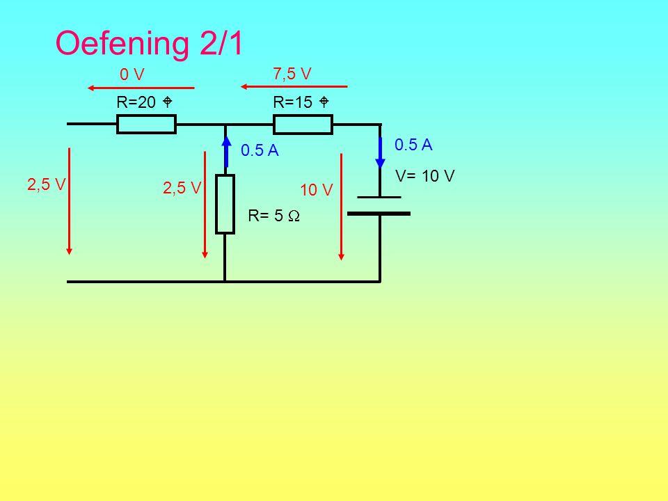 Oefening 2/1 R=15  R= 5  R=20  V= 10 V 0.5 A 2,5 V 7,5 V 0 V 2,5 V10 V