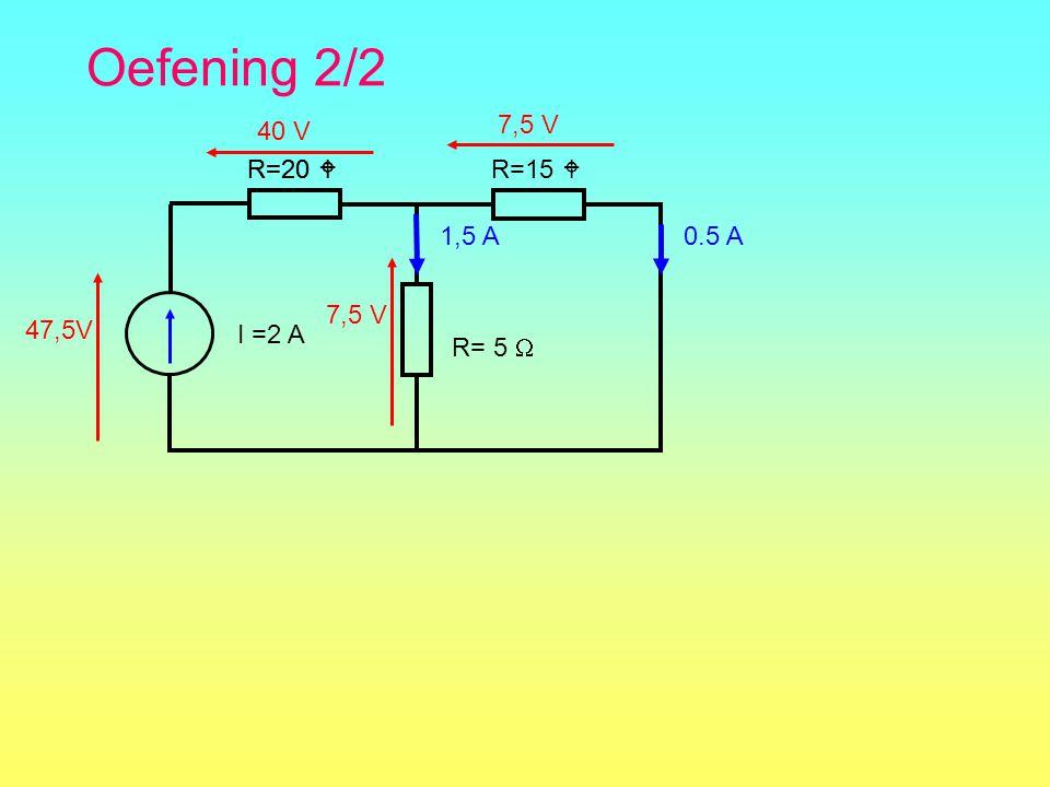 Oefening 2/2 R=15  I =2 A R= 5  R=20  0.5 A 7,5 V 1,5 A 40 V 47,5V