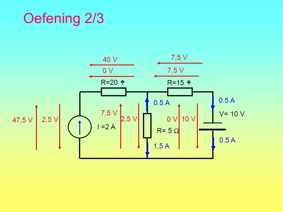 Oefening 2/3 R=15  R= 5  R=20  V= 10 V 0.5 A 2,5 V 7,5 V 0 V 2,5 V 10 V I =2 A 0.5 A 0 V 7,5 V 1,5 A 40 V 47,5 V 7,5 V