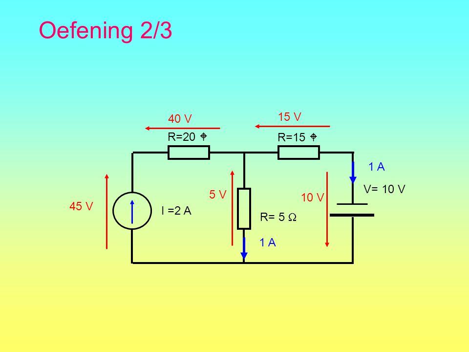 Oefening 2/3 R=15  R= 5  R=20  V= 10 V 1 A 15 V 10 V I =2 A 1 A 40 V 45 V 5 V