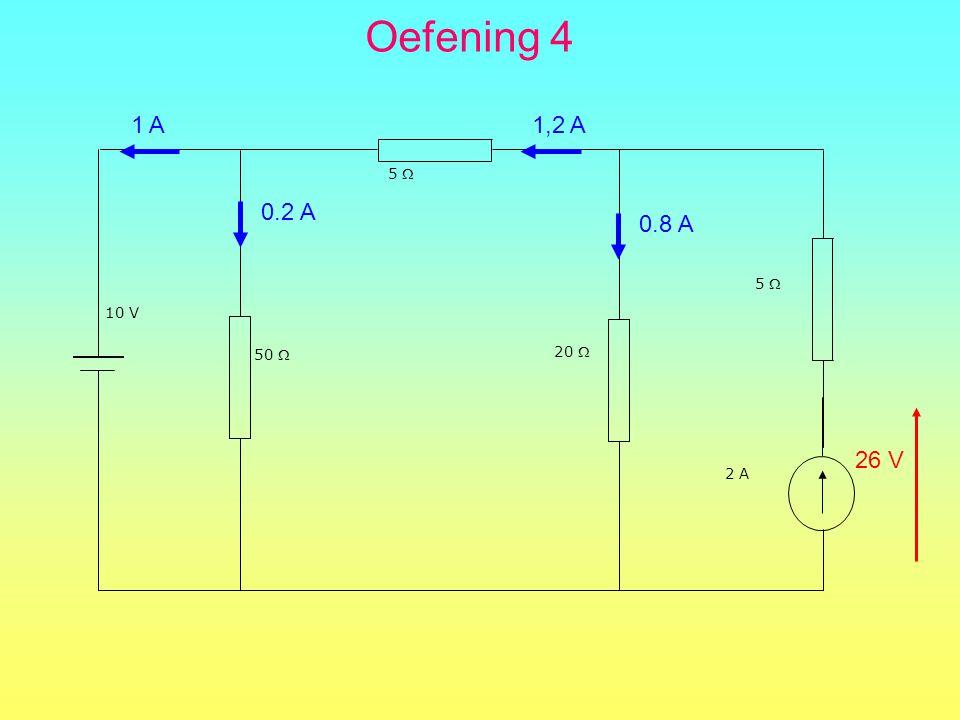 Oefening 4 10 V 50  5  20  5  2 A 0.2 A 0.8 A 1 A 1,2 A 26 V