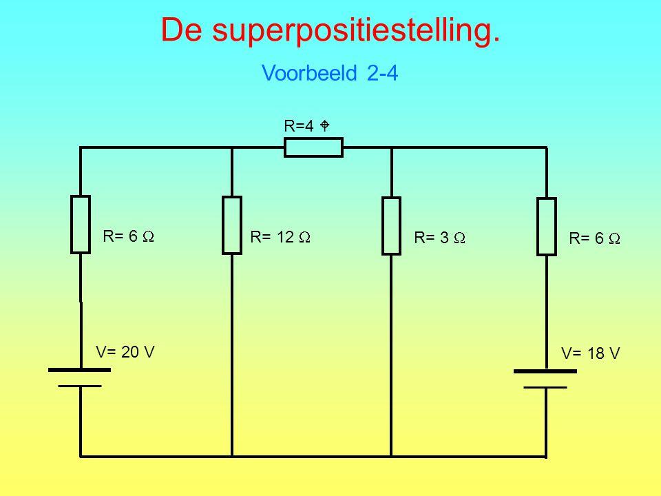 De superpositiestelling. Voorbeeld 2-4 R=4  R= 6  V= 20 V R= 12  R= 3  R= 6  V= 18 V