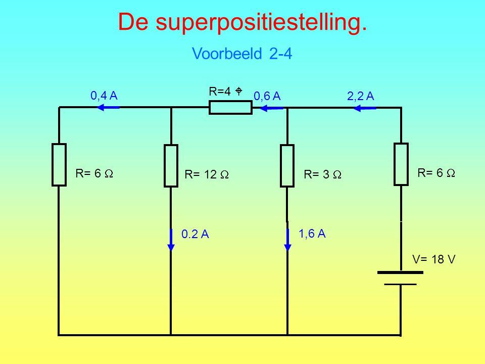 De superpositiestelling. Voorbeeld 2-4 R=4  R= 6  R= 12  R= 3  R= 6  V= 18 V 1,6 A 0.2 A 0,4 A 0,6 A 2,2 A