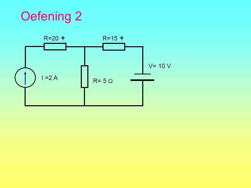 Oefening 2 R=15  I =2 A R= 5  R=20  V= 10 V