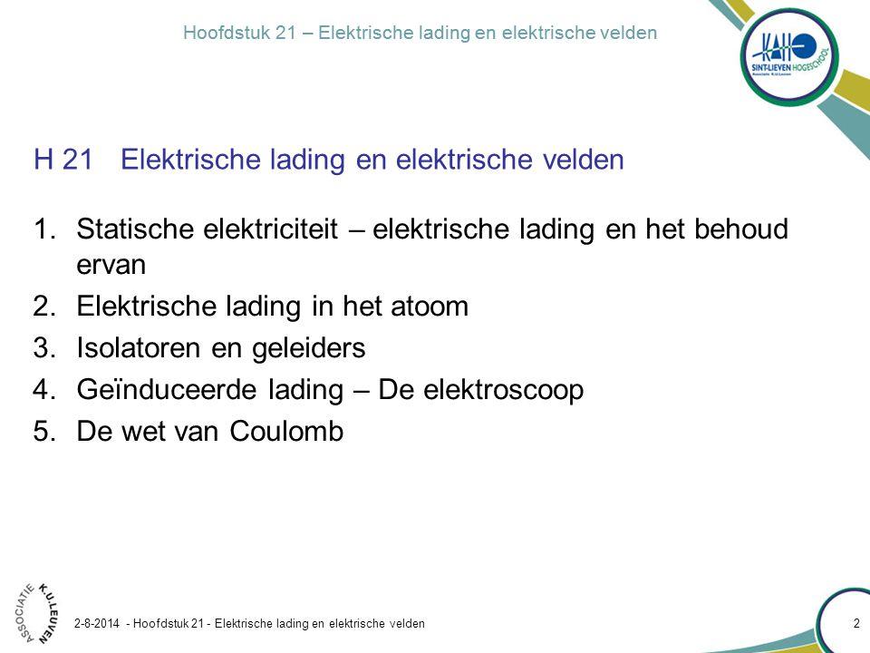 Hoofdstuk 21 – Elektrische lading en elektrische velden 2-8-2014 - Hoofdstuk 21 - Elektrische lading en elektrische velden 23