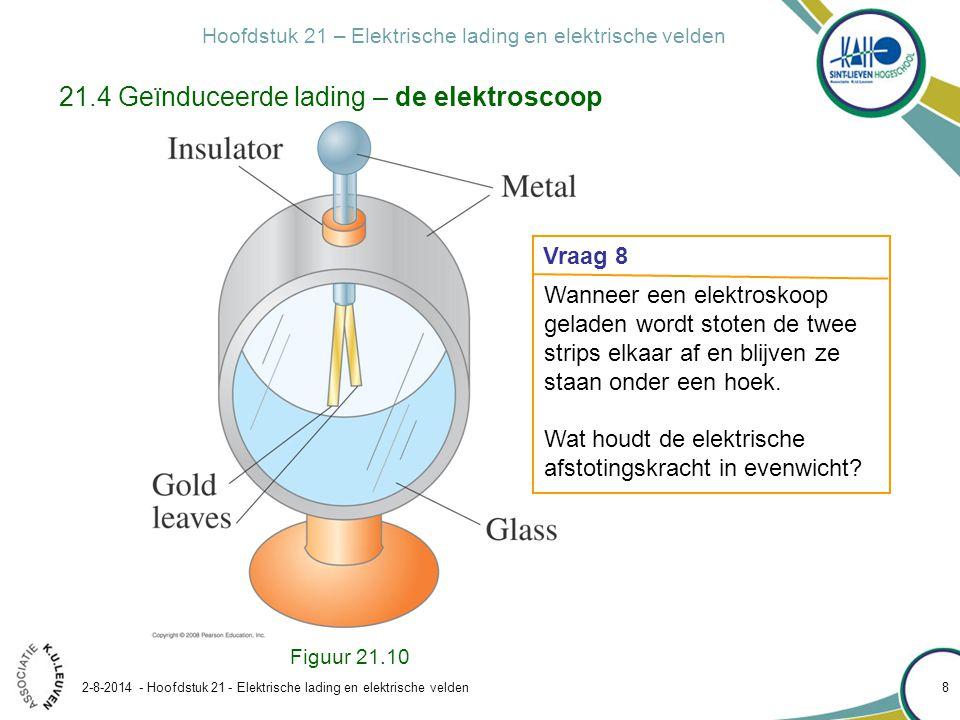Hoofdstuk 21 – Elektrische lading en elektrische velden 2-8-2014 - Hoofdstuk 21 - Elektrische lading en elektrische velden 19 Oplossing: Figuur 21.16 21.5 De wet van Coulomb Voorbeeld 21.2: Drie ladingen op een rij (ééndimensionaal) Aanpak: via superpositie Bereken in figuur 21.17 de kracht op Q 3.