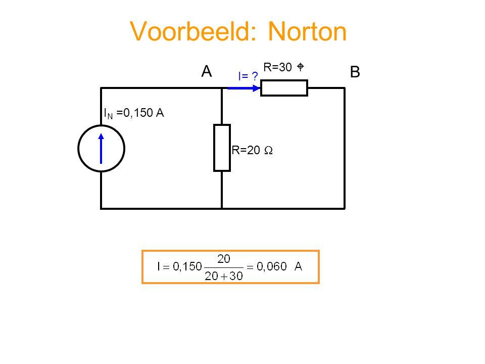 Voorbeeld: Norton R=20  R=30  I= ? A B I N =0,150 A