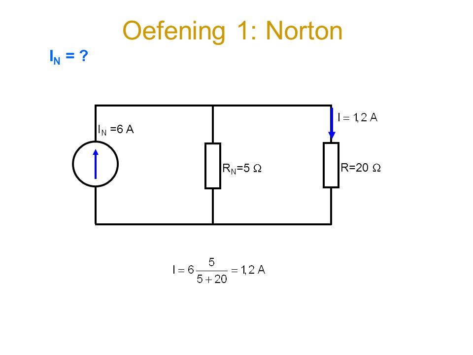 Oefening 1: Norton I N =6 A RN=5 RN=5  R=20  I N = ?