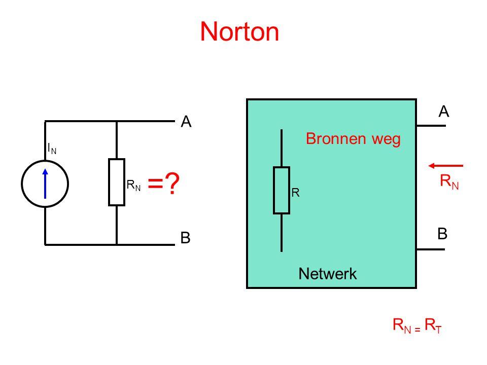 Norton ININ RNRN A B =? R A B Netwerk RNRN Bronnen weg R N = R T
