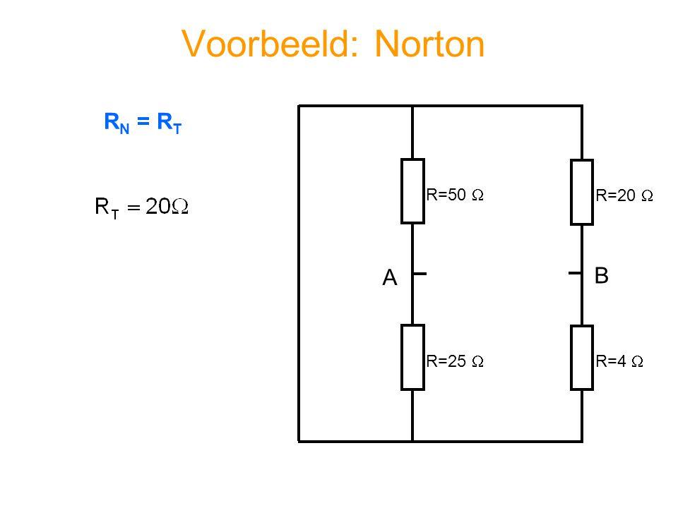 Voorbeeld: Norton R=50  R=20  R=4  R=25  A B R N = R T