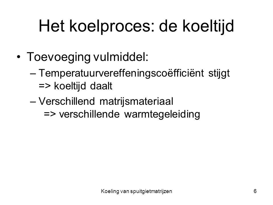 Koeling van spuitgietmatrijzen6 Het koelproces: de koeltijd Toevoeging vulmiddel: –Temperatuurvereffeningscoëfficiënt stijgt => koeltijd daalt –Versch