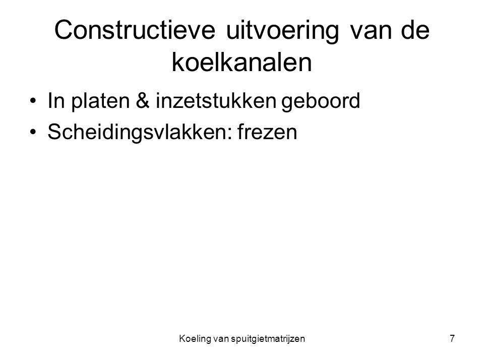 Koeling van spuitgietmatrijzen7 Constructieve uitvoering van de koelkanalen In platen & inzetstukken geboord Scheidingsvlakken: frezen