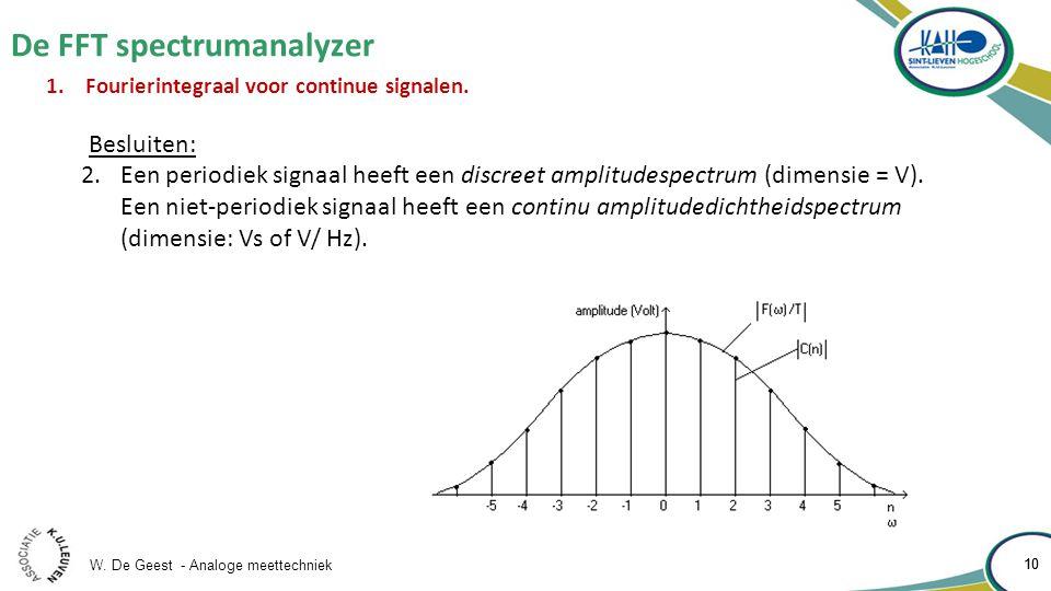 W. De Geest - Analoge meettechniek 10 De FFT spectrumanalyzer 10 1.Fourierintegraal voor continue signalen. Besluiten: 2.Een periodiek signaal heeft e