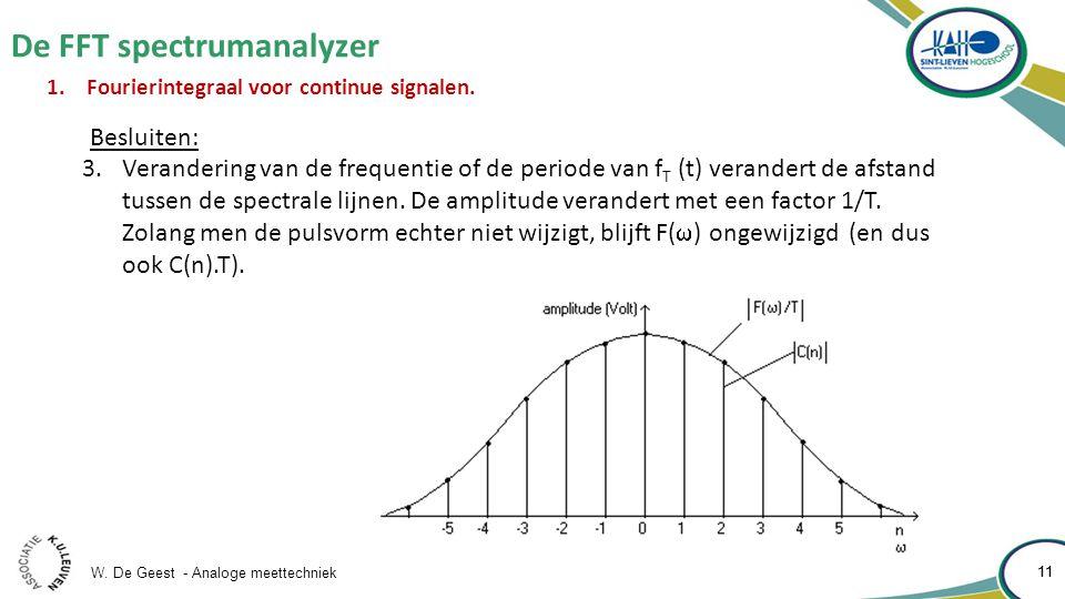 W. De Geest - Analoge meettechniek 11 De FFT spectrumanalyzer 11 1.Fourierintegraal voor continue signalen. Besluiten: 3.Verandering van de frequentie