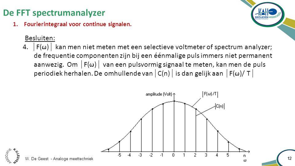 W. De Geest - Analoge meettechniek 12 De FFT spectrumanalyzer 12 1.Fourierintegraal voor continue signalen. Besluiten: 4.  F(  )  kan men niet mete