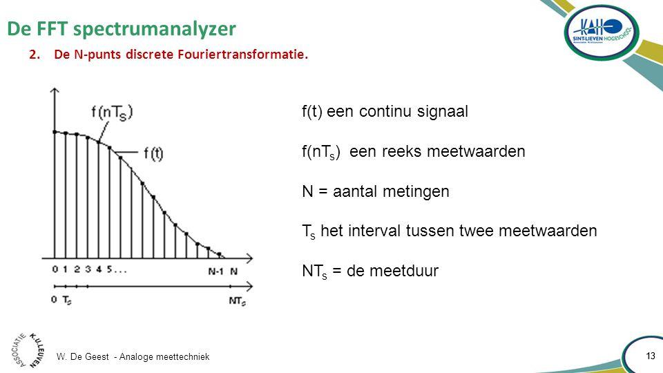 W. De Geest - Analoge meettechniek 13 De FFT spectrumanalyzer 13 2.De N-punts discrete Fouriertransformatie. f(t) een continu signaal f(nT s ) een ree