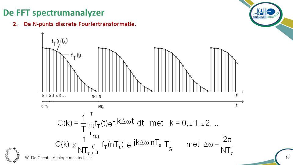 W. De Geest - Analoge meettechniek 16 De FFT spectrumanalyzer 16 2.De N-punts discrete Fouriertransformatie.