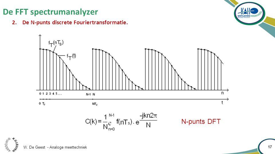 W. De Geest - Analoge meettechniek 17 De FFT spectrumanalyzer 17 2.De N-punts discrete Fouriertransformatie. N-punts DFT