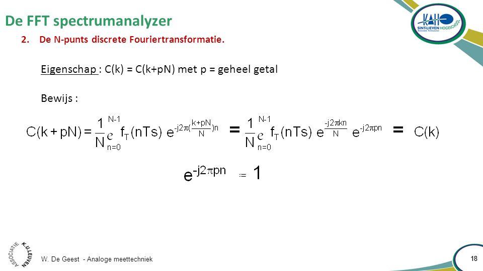 W. De Geest - Analoge meettechniek 18 De FFT spectrumanalyzer 18 2.De N-punts discrete Fouriertransformatie. Eigenschap : C(k) = C(k+pN) met p = gehee