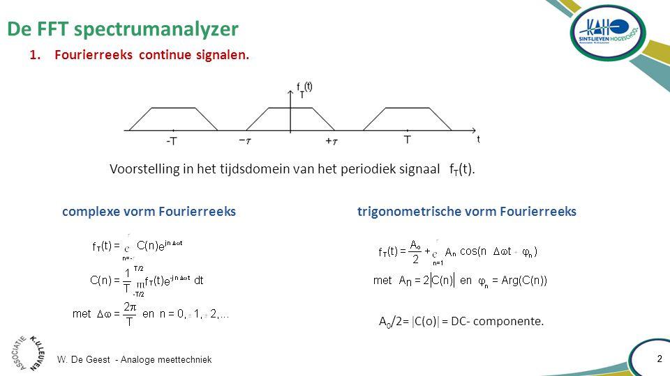 W. De Geest - Analoge meettechniek 2 De FFT spectrumanalyzer 2 1.Fourierreeks continue signalen. Voorstelling in het tijdsdomein van het periodiek sig