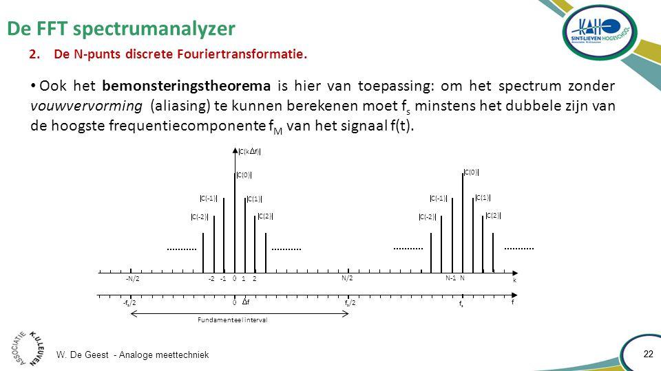 W. De Geest - Analoge meettechniek 22 De FFT spectrumanalyzer 22 2.De N-punts discrete Fouriertransformatie.  C(k  f)  1 2 N-1 N 0 k N/2 f 0 fsfs f