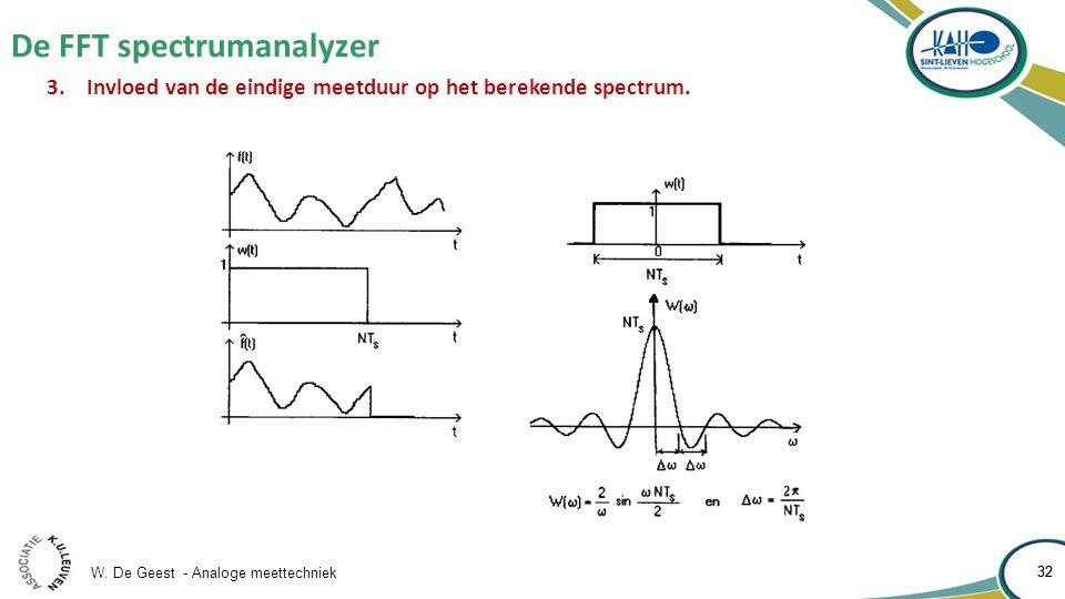 W. De Geest - Analoge meettechniek 32 De FFT spectrumanalyzer 32 3.Invloed van de eindige meetduur op het berekende spectrum.