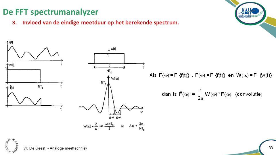 W. De Geest - Analoge meettechniek 33 De FFT spectrumanalyzer 33 3.Invloed van de eindige meetduur op het berekende spectrum.