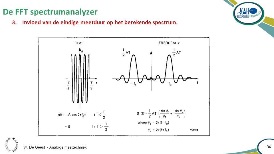 W. De Geest - Analoge meettechniek 34 De FFT spectrumanalyzer 34 3.Invloed van de eindige meetduur op het berekende spectrum.