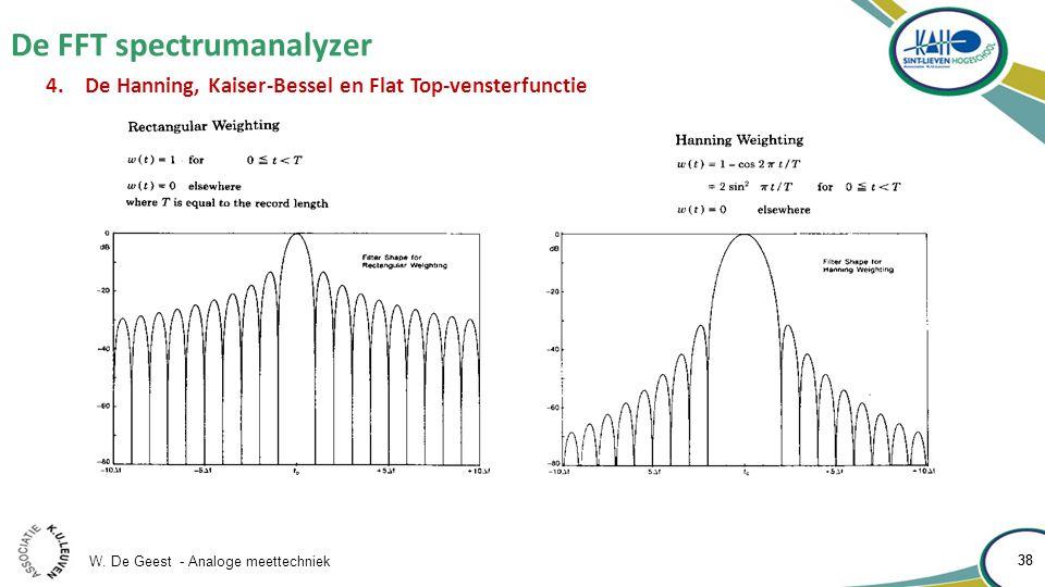 W. De Geest - Analoge meettechniek 38 De FFT spectrumanalyzer 38 4.De Hanning, Kaiser-Bessel en Flat Top-vensterfunctie
