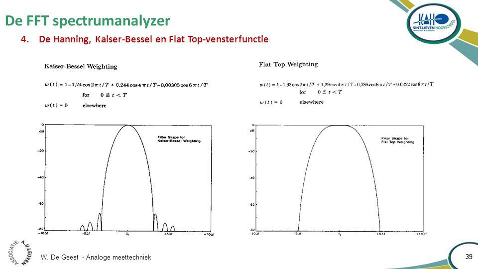 W. De Geest - Analoge meettechniek 39 De FFT spectrumanalyzer 39 4.De Hanning, Kaiser-Bessel en Flat Top-vensterfunctie