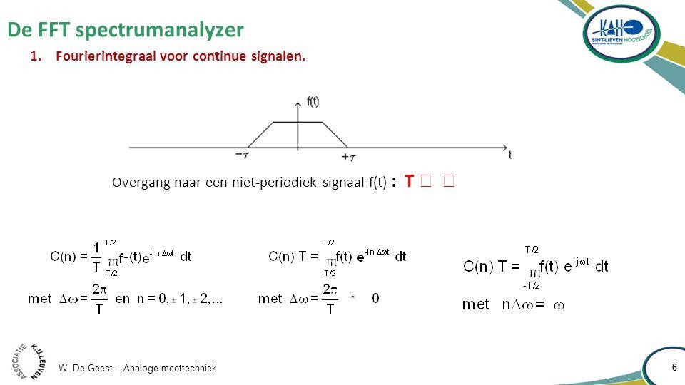 W. De Geest - Analoge meettechniek 6 De FFT spectrumanalyzer 6 1.Fourierintegraal voor continue signalen. Overgang naar een niet-periodiek signaal f(t