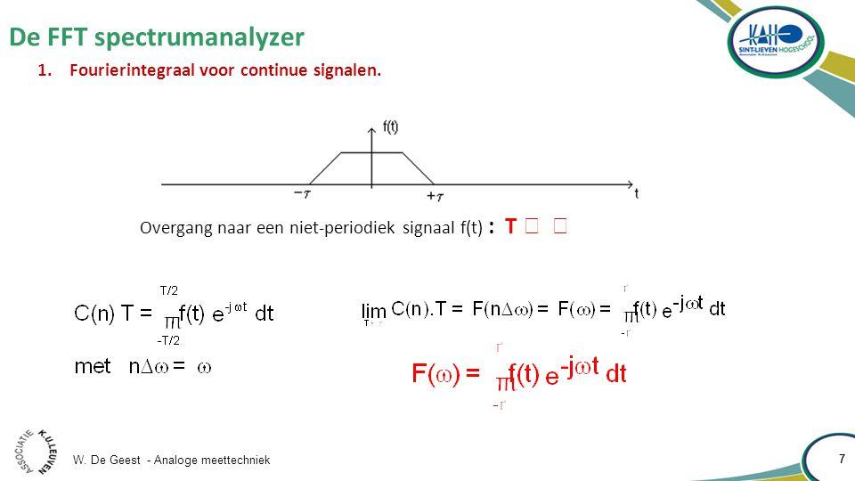 W. De Geest - Analoge meettechniek 7 De FFT spectrumanalyzer 7 1.Fourierintegraal voor continue signalen. Overgang naar een niet-periodiek signaal f(t
