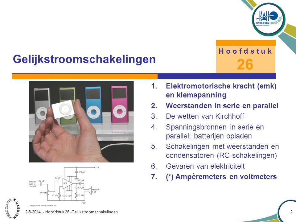 Hoofdstuk 26 – Gelijkstroomschakelingen 2-8-2014 - Hoofdstuk 26 -Gelijkstroomschakelingen 3 Gelijkstroomschakelingen H o o f d s t u k 26 SymboolComponent Batterij (EMK) Condensator Weerstand perfecte geleider ( R=0) Schakelaar Aarde of massa Tabel 26.1 Symbolen voor componenten In een schema van een schakeling worden de symbolen uit tabel 26.1 gebruikt.