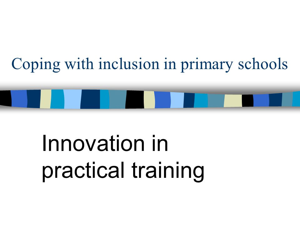Coping with inclusion in primary schools Innovation in practical training