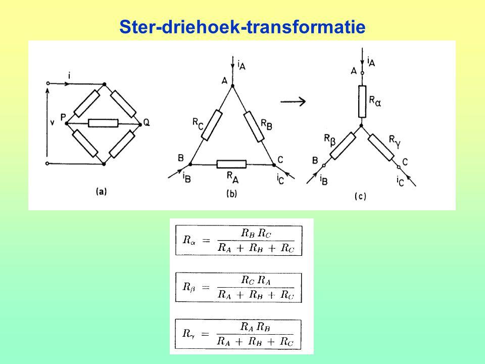 Ster-driehoek-transformatie : Oefening 1. 50 V 5  2  8  4  A B C 4.5 + 2.4 + 2.5 = 38 Ω²