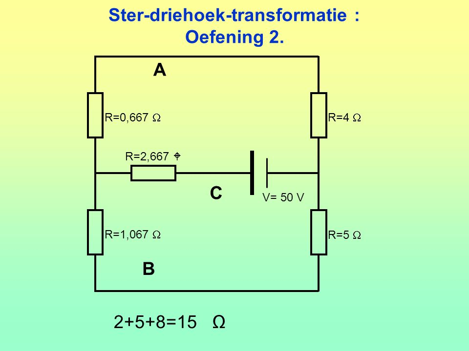 Ster-driehoek-transformatie : Oefening 2. V= 50 V R=0,667  R=4  R=1,067  R=5  R=2,667  2+5+8=15 Ω A B C