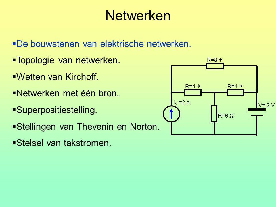  De bouwstenen van elektrische netwerken.  Topologie van netwerken.  Wetten van Kirchoff.  Netwerken met één bron.  Superpositiestelling.  Stell