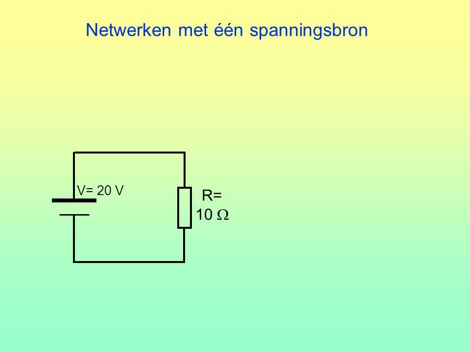 Netwerken met één spanningsbron R= 10  V= 20 V