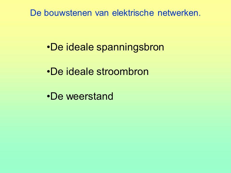 De bouwstenen van elektrische netwerken. De ideale spanningsbron De ideale stroombron De weerstand